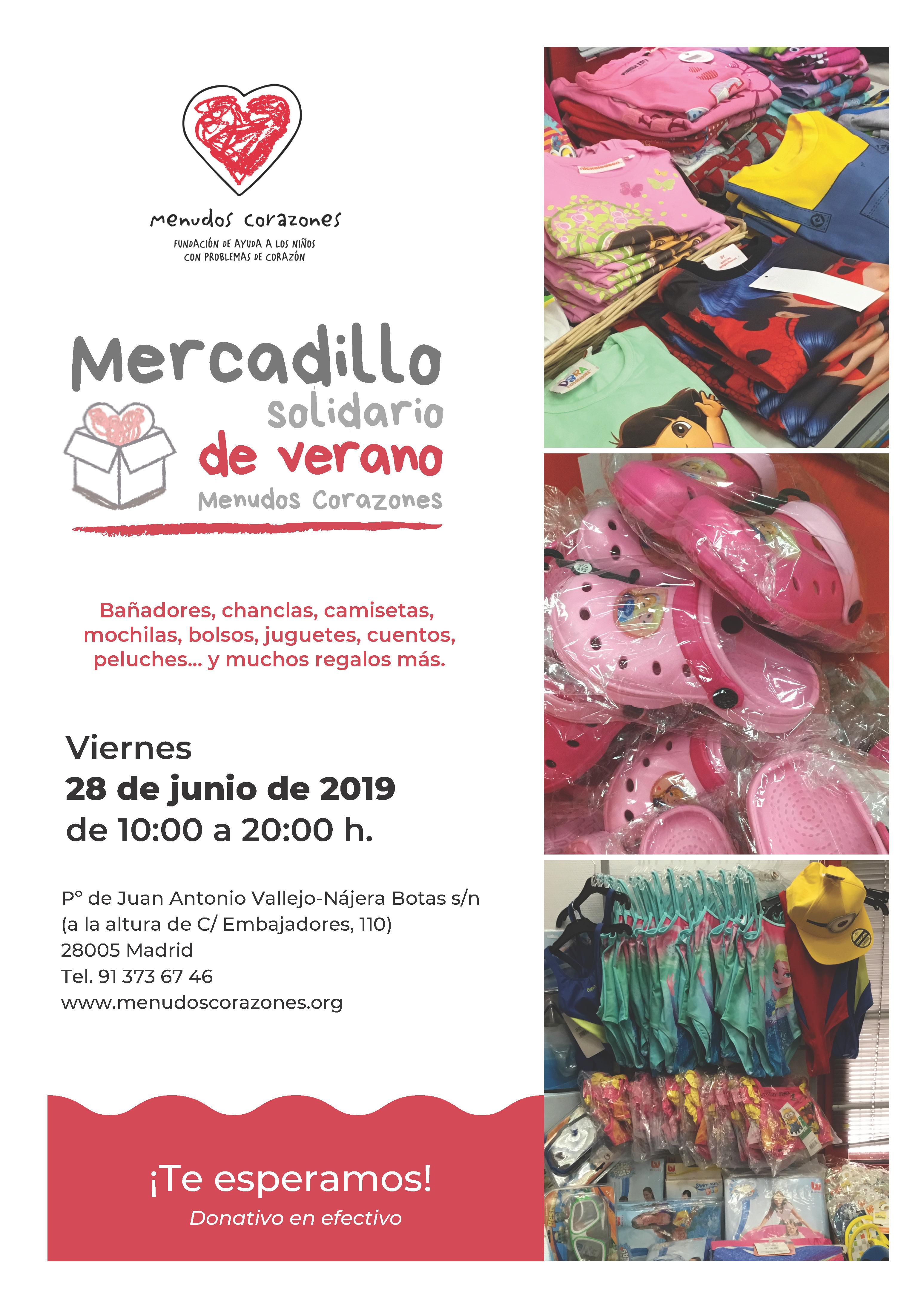 Cartel Mercadillo Solidario de Verano de Menudos Corazones