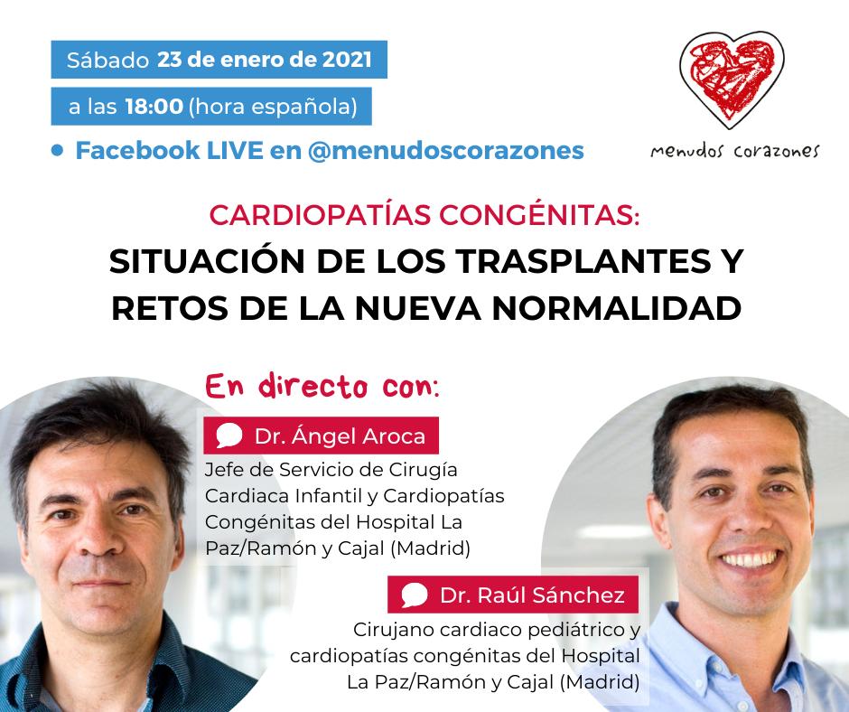 Cartel de la charla en directo con los doctores Ángel Aroca y Raúl Sánchez