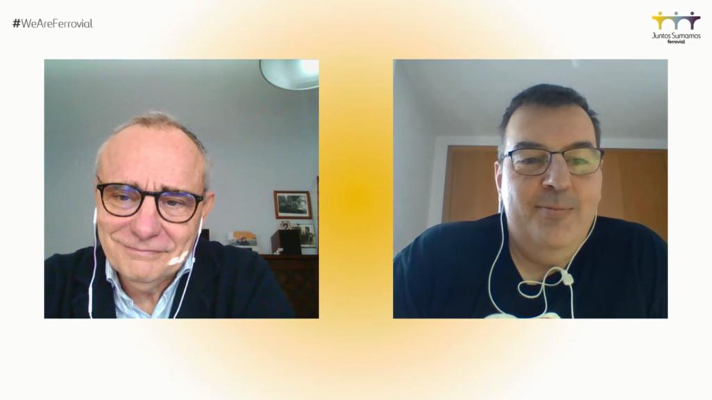 Francisco Polo, director de comunicación y RC de Ferrovial, y Juan María Obergozo, presidente de nuestro patronato, durante el evento virtual Juntos Sumamos.